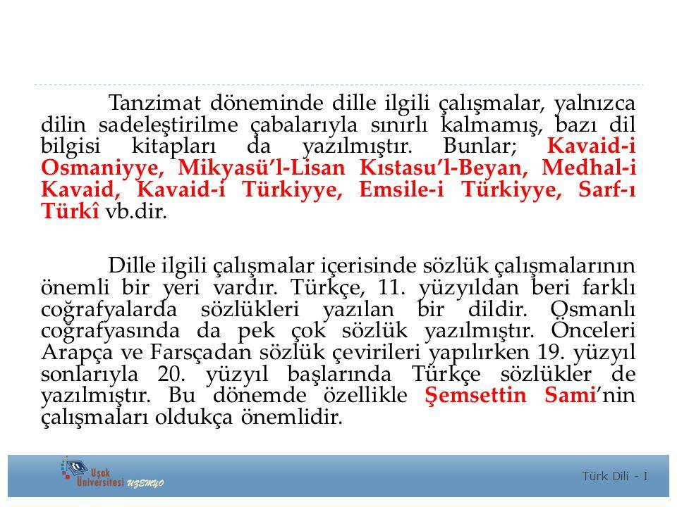 Tanzimat döneminde dille ilgili çalışmalar, yalnızca dilin sadeleştirilme çabalarıyla sınırlı kalmamış, bazı dil bilgisi kitapları da yazılmıştır. Bunlar; Kavaid-i Osmaniyye, Mikyasü'l-Lisan Kıstasu'l-Beyan, Medhal-i Kavaid, Kavaid-i Türkiyye, Emsile-i Türkiyye, Sarf-ı Türkî vb.dir.