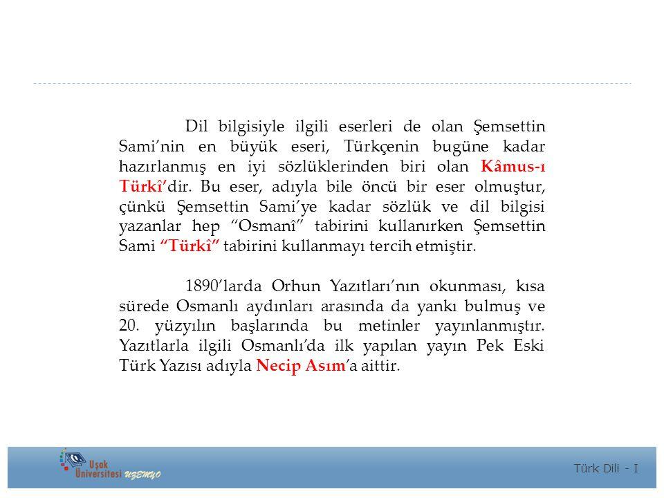 Dil bilgisiyle ilgili eserleri de olan Şemsettin Sami'nin en büyük eseri, Türkçenin bugüne kadar hazırlanmış en iyi sözlüklerinden biri olan Kâmus-ı Türkî'dir. Bu eser, adıyla bile öncü bir eser olmuştur, çünkü Şemsettin Sami'ye kadar sözlük ve dil bilgisi yazanlar hep Osmanî tabirini kullanırken Şemsettin Sami Türkî tabirini kullanmayı tercih etmiştir.