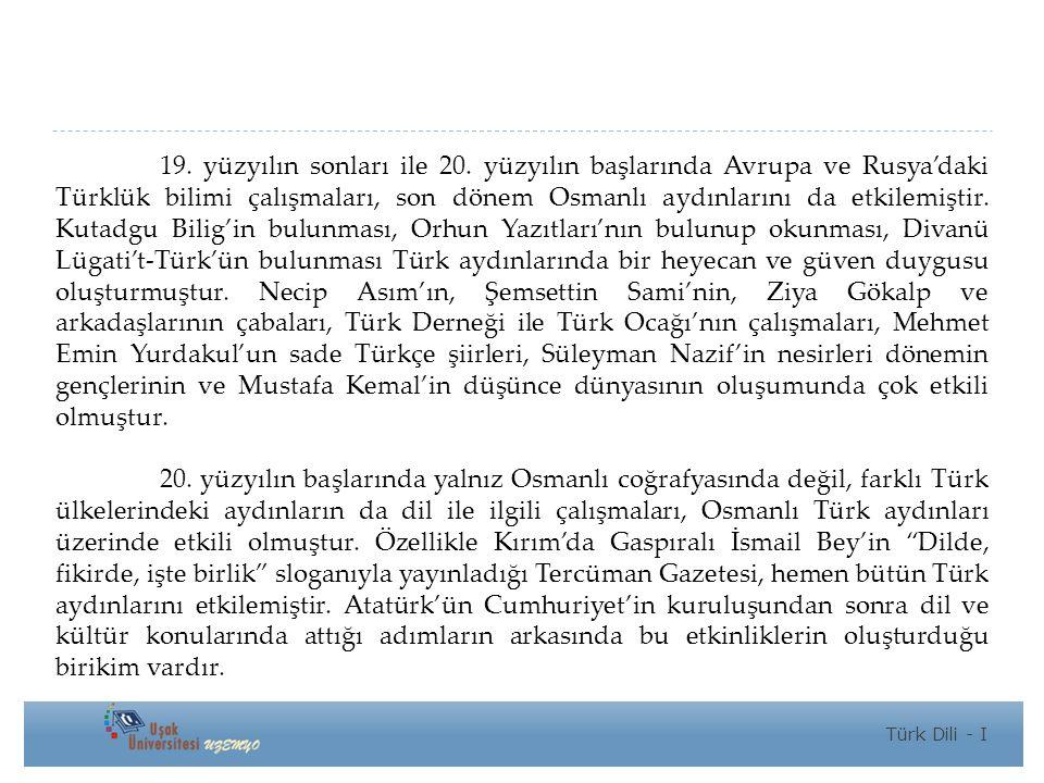 19. yüzyılın sonları ile 20. yüzyılın başlarında Avrupa ve Rusya'daki Türklük bilimi çalışmaları, son dönem Osmanlı aydınlarını da etkilemiştir. Kutadgu Bilig'in bulunması, Orhun Yazıtları'nın bulunup okunması, Divanü Lügati't-Türk'ün bulunması Türk aydınlarında bir heyecan ve güven duygusu oluşturmuştur. Necip Asım'ın, Şemsettin Sami'nin, Ziya Gökalp ve arkadaşlarının çabaları, Türk Derneği ile Türk Ocağı'nın çalışmaları, Mehmet Emin Yurdakul'un sade Türkçe şiirleri, Süleyman Nazif'in nesirleri dönemin gençlerinin ve Mustafa Kemal'in düşünce dünyasının oluşumunda çok etkili olmuştur.