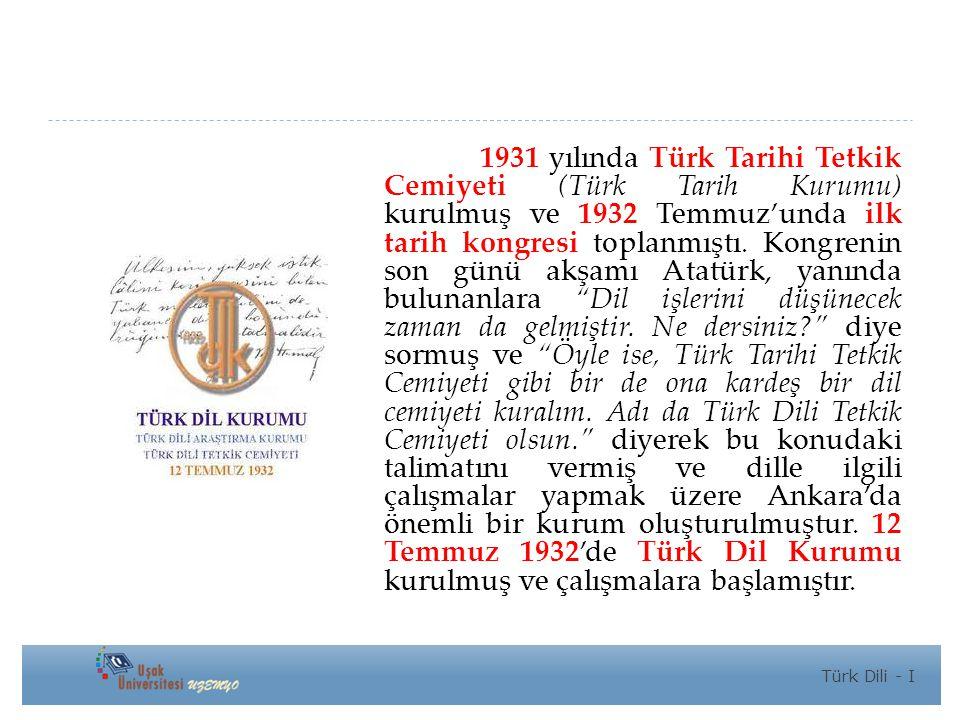 1931 yılında Türk Tarihi Tetkik Cemiyeti (Türk Tarih Kurumu) kurulmuş ve 1932 Temmuz'unda ilk tarih kongresi toplanmıştı. Kongrenin son günü akşamı Atatürk, yanında bulunanlara Dil işlerini düşünecek zaman da gelmiştir. Ne dersiniz diye sormuş ve Öyle ise, Türk Tarihi Tetkik Cemiyeti gibi bir de ona kardeş bir dil cemiyeti kuralım. Adı da Türk Dili Tetkik Cemiyeti olsun. diyerek bu konudaki talimatını vermiş ve dille ilgili çalışmalar yapmak üzere Ankara'da önemli bir kurum oluşturulmuştur. 12 Temmuz 1932'de Türk Dil Kurumu kurulmuş ve çalışmalara başlamıştır.