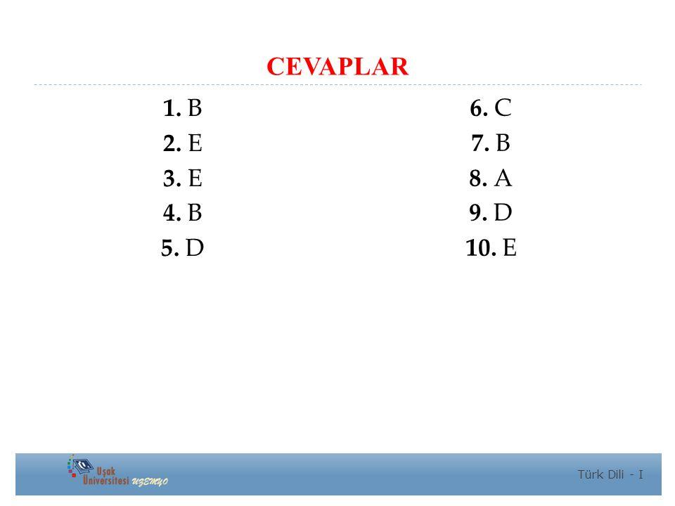 CEVAPLAR 1. B 2. E 3. E 4. B 5. D 6. C 7. B 8. A 9. D 10. E Türk Dili - I