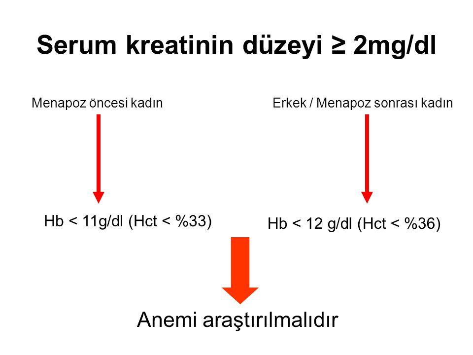 Serum kreatinin düzeyi ≥ 2mg/dl