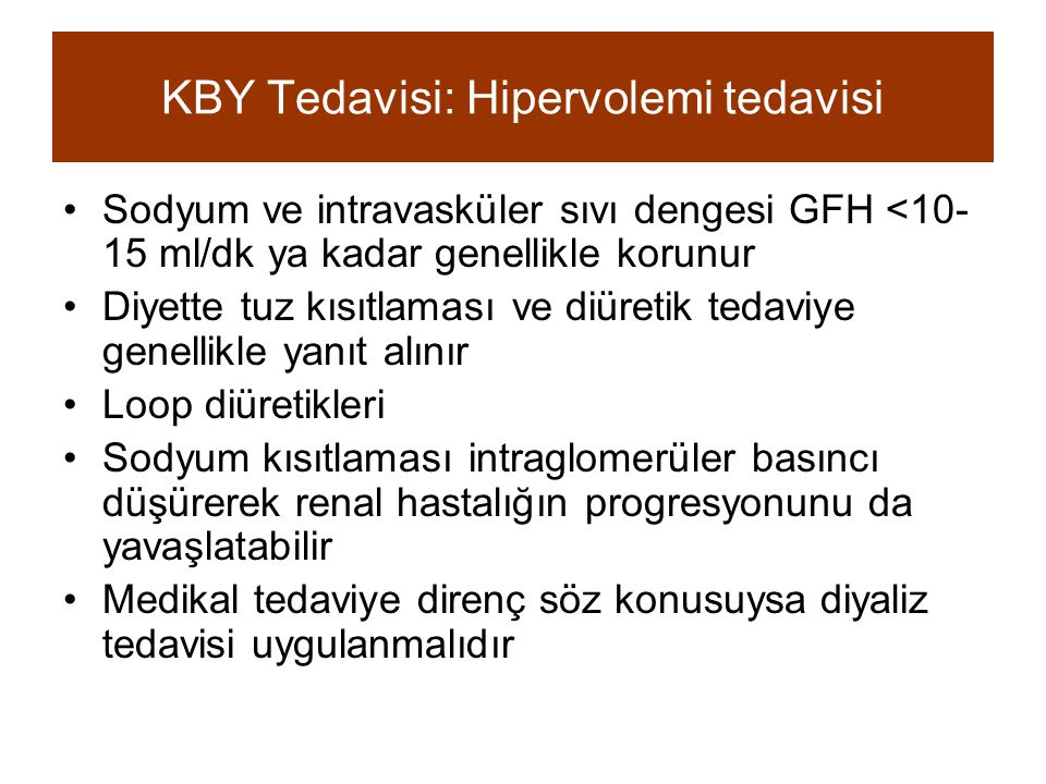 KBY Tedavisi: Hipervolemi tedavisi