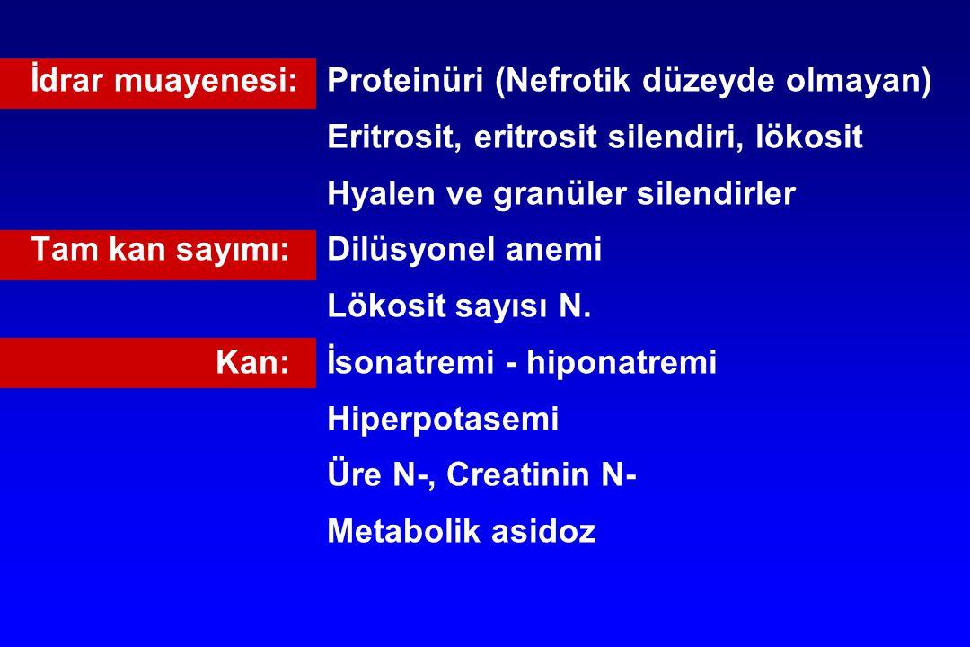 İdrar muayenesi: Proteinüri (Nefrotik düzeyde olmayan)