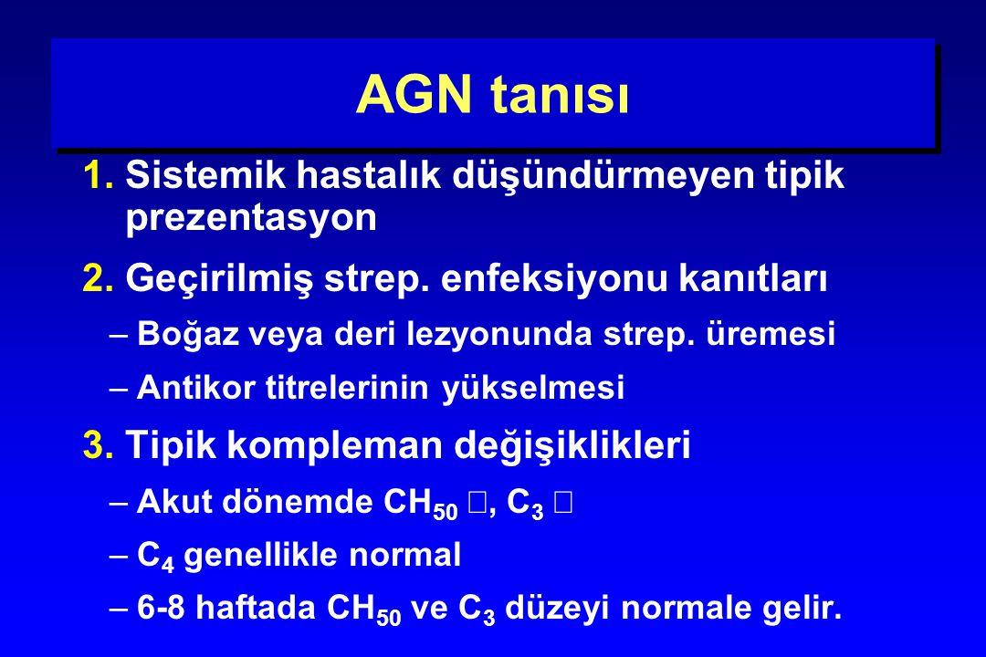 AGN tanısı 1. Sistemik hastalık düşündürmeyen tipik prezentasyon