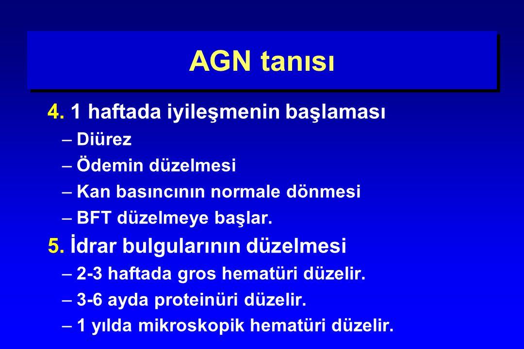AGN tanısı 4. 1 haftada iyileşmenin başlaması
