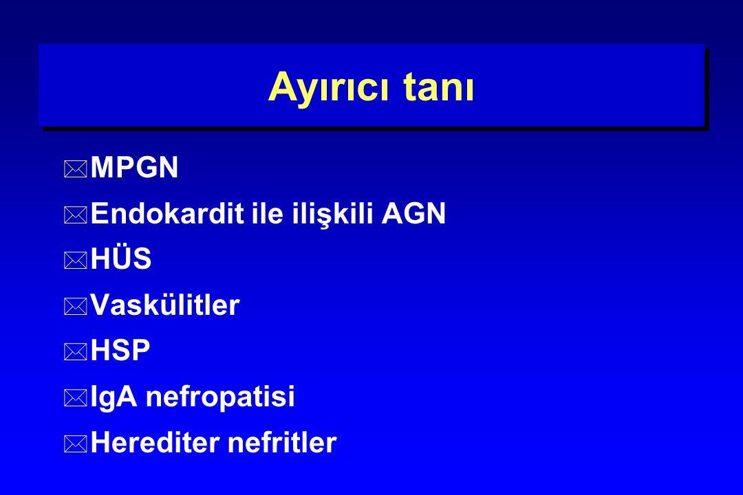 Ayırıcı tanı MPGN Endokardit ile ilişkili AGN HÜS Vaskülitler HSP
