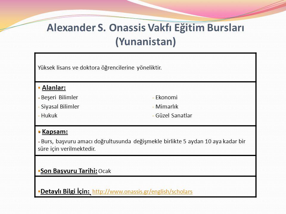 Alexander S. Onassis Vakfı Eğitim Bursları (Yunanistan)