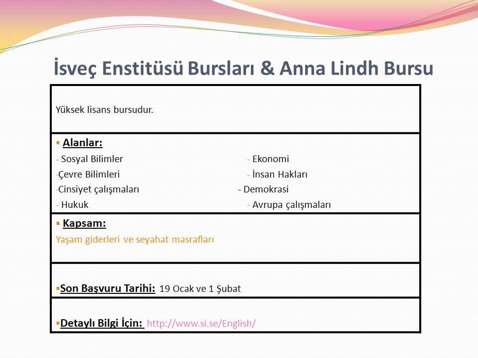 İsveç Enstitüsü Bursları & Anna Lindh Bursu
