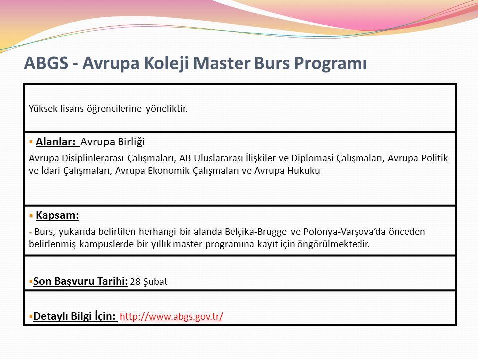 ABGS - Avrupa Koleji Master Burs Programı