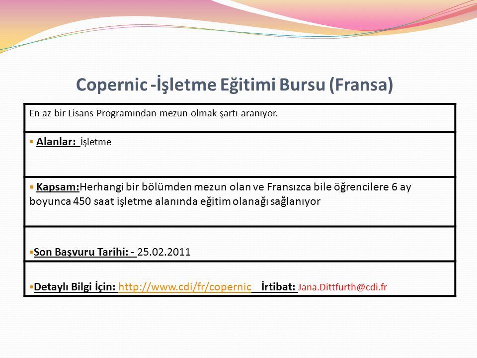 Copernic -İşletme Eğitimi Bursu (Fransa)