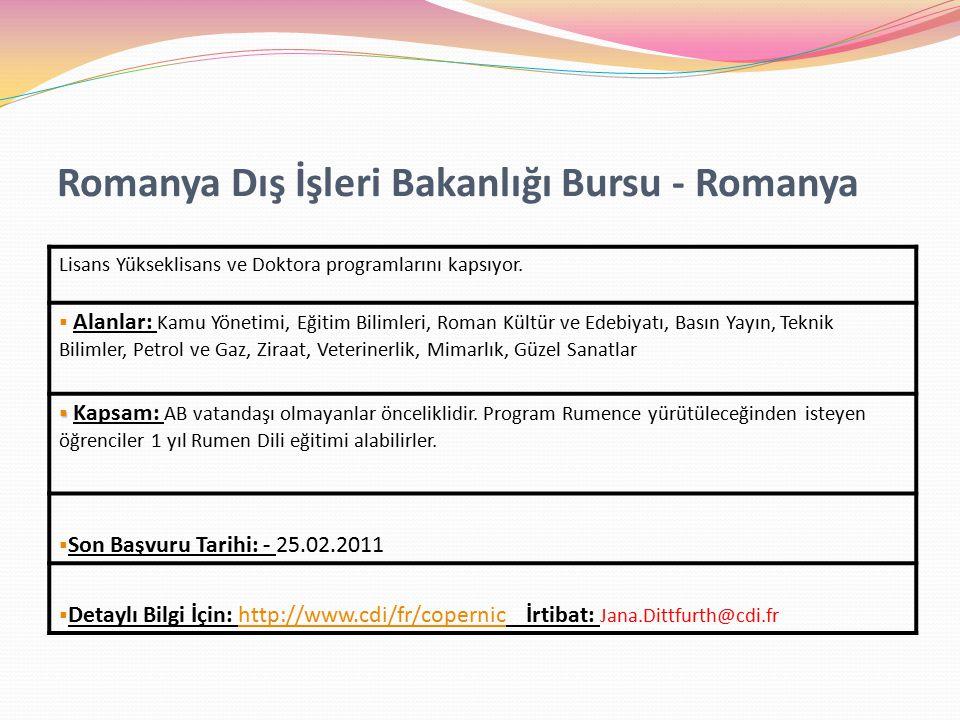 Romanya Dış İşleri Bakanlığı Bursu - Romanya