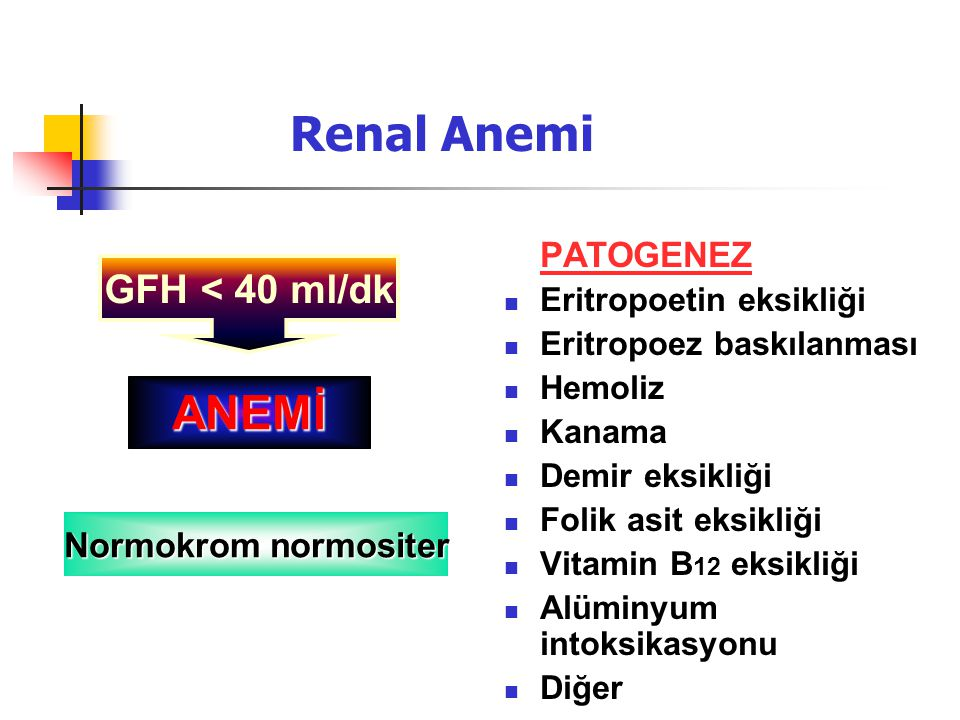Renal Anemi ANEMİ GFH < 40 ml/dk PATOGENEZ Normokrom normositer