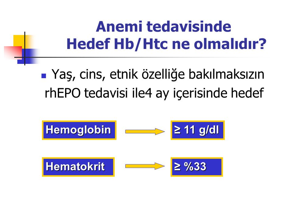 Anemi tedavisinde Hedef Hb/Htc ne olmalıdır