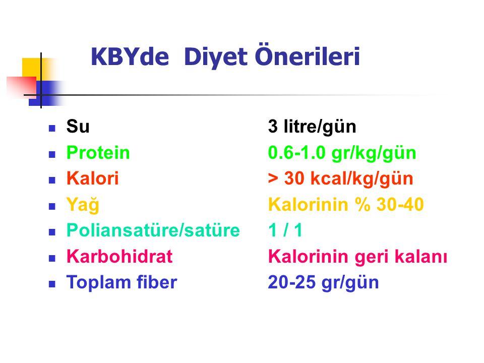KBYde Diyet Önerileri Su 3 litre/gün Protein 0.6-1.0 gr/kg/gün
