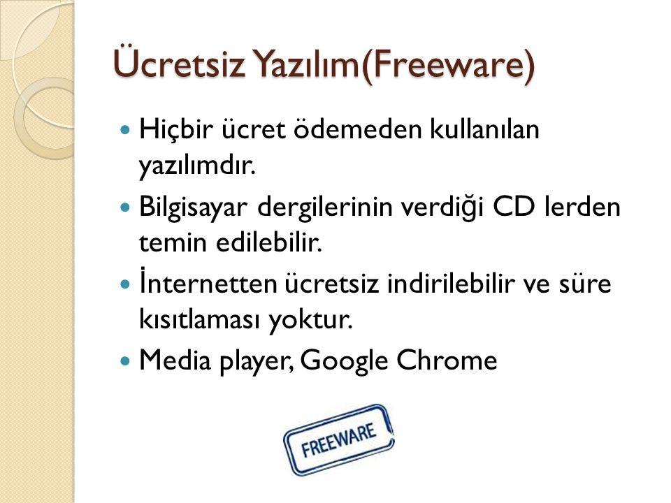 Ücretsiz Yazılım(Freeware)
