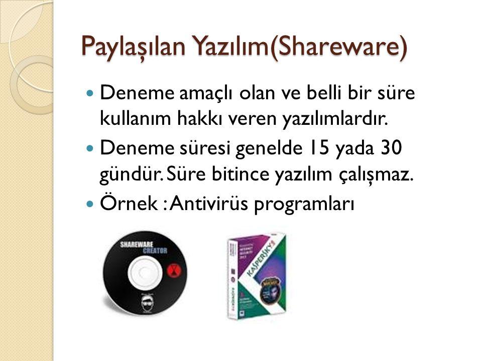 Paylaşılan Yazılım(Shareware)