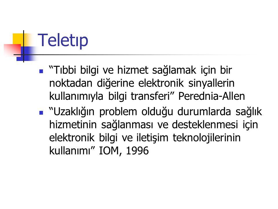Teletıp Tıbbi bilgi ve hizmet sağlamak için bir noktadan diğerine elektronik sinyallerin kullanımıyla bilgi transferi Perednia-Allen.
