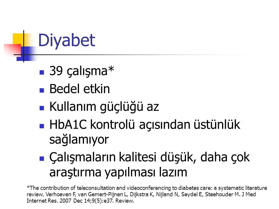 Diyabet 39 çalışma* Bedel etkin Kullanım güçlüğü az
