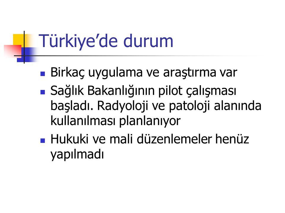 Türkiye'de durum Birkaç uygulama ve araştırma var