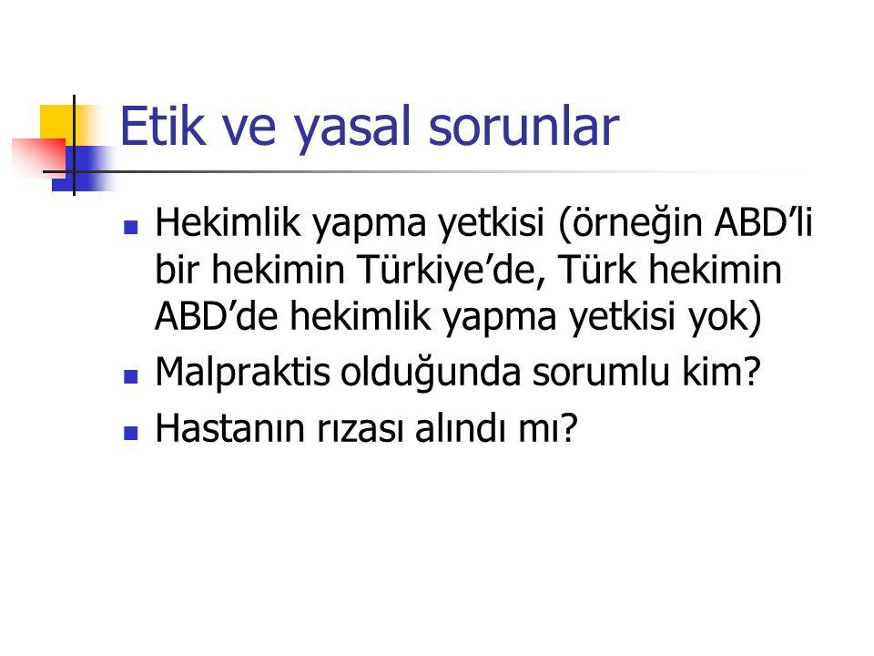 Etik ve yasal sorunlar Hekimlik yapma yetkisi (örneğin ABD'li bir hekimin Türkiye'de, Türk hekimin ABD'de hekimlik yapma yetkisi yok)