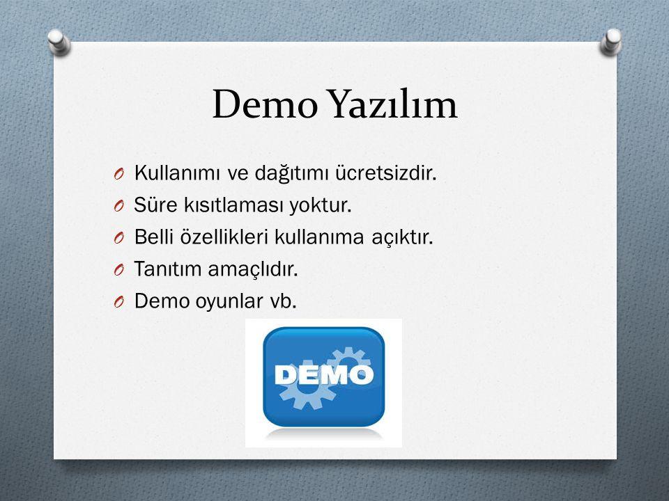 Demo Yazılım Kullanımı ve dağıtımı ücretsizdir.