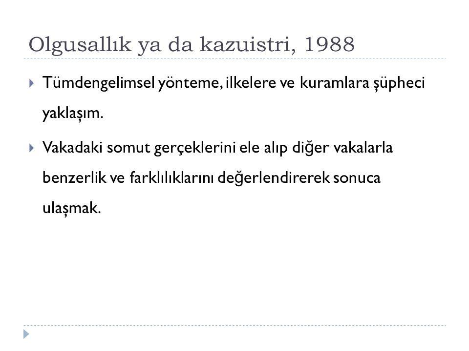 Olgusallık ya da kazuistri, 1988