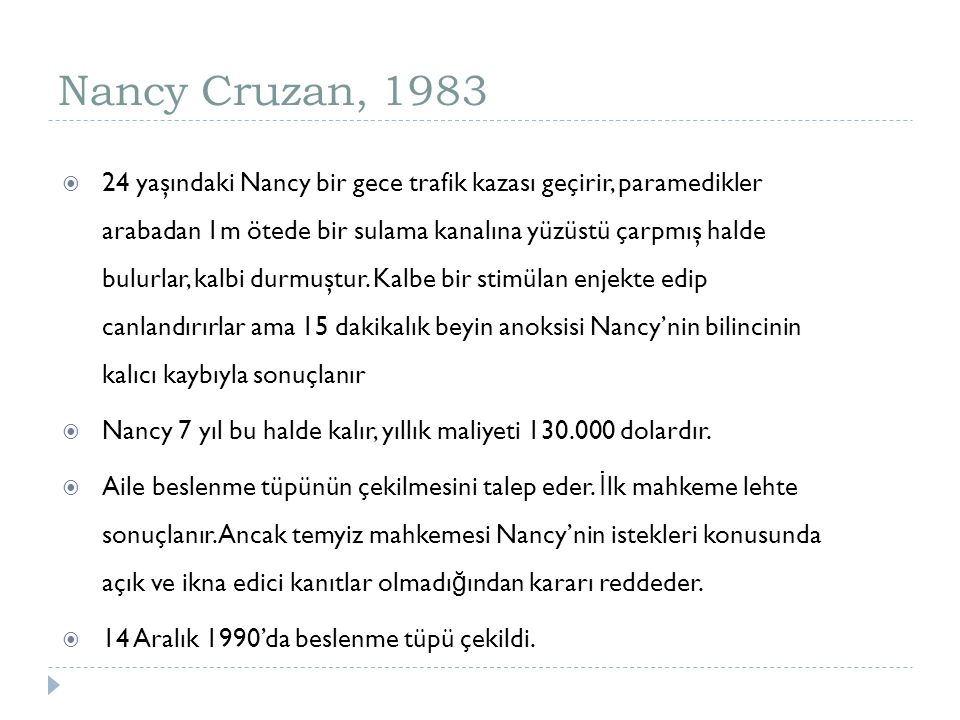 Nancy Cruzan, 1983
