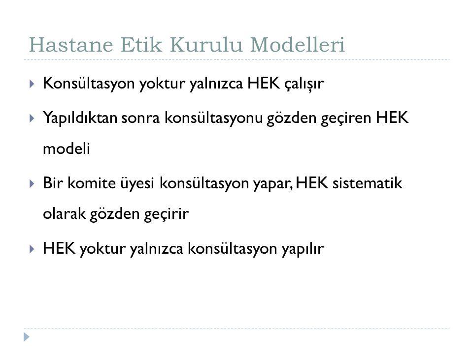 Hastane Etik Kurulu Modelleri