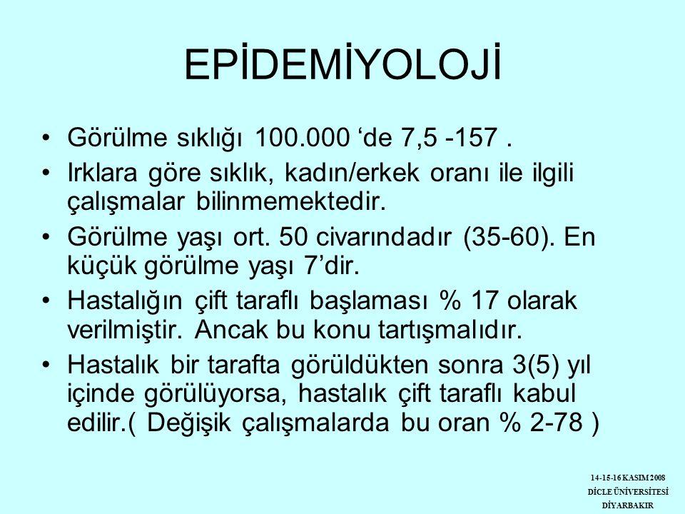 EPİDEMİYOLOJİ Görülme sıklığı 100.000 'de 7,5 -157 .