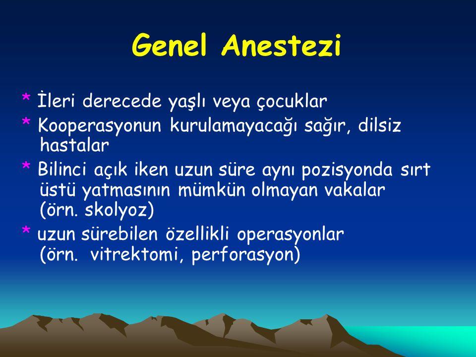 Genel Anestezi * İleri derecede yaşlı veya çocuklar. * Kooperasyonun kurulamayacağı sağır, dilsiz hastalar.