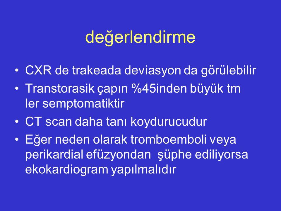değerlendirme CXR de trakeada deviasyon da görülebilir