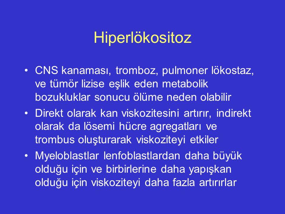 Hiperlökositoz CNS kanaması, tromboz, pulmoner lökostaz, ve tümör lizise eşlik eden metabolik bozukluklar sonucu ölüme neden olabilir.