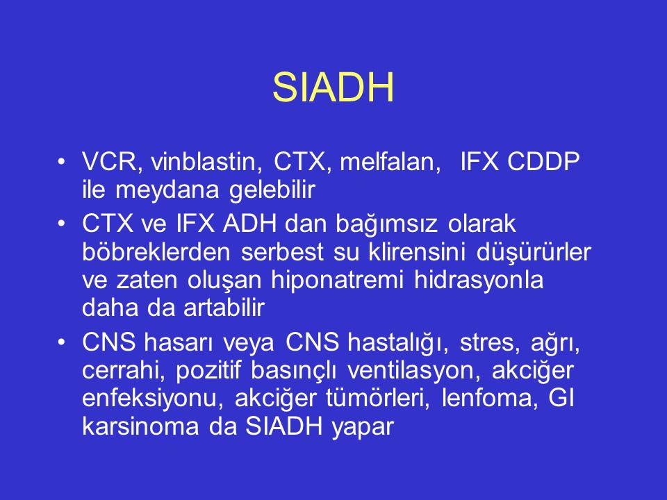 SIADH VCR, vinblastin, CTX, melfalan, IFX CDDP ile meydana gelebilir