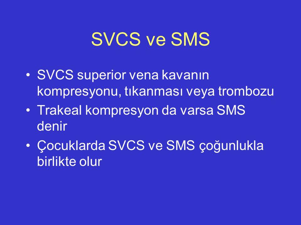 SVCS ve SMS SVCS superior vena kavanın kompresyonu, tıkanması veya trombozu. Trakeal kompresyon da varsa SMS denir.