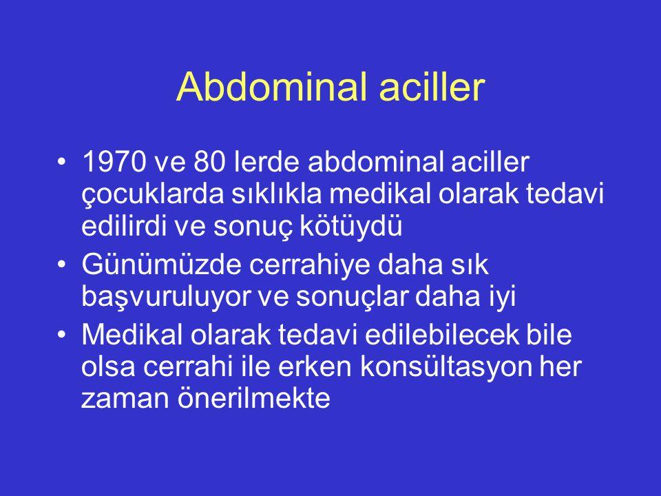 Abdominal aciller 1970 ve 80 lerde abdominal aciller çocuklarda sıklıkla medikal olarak tedavi edilirdi ve sonuç kötüydü.