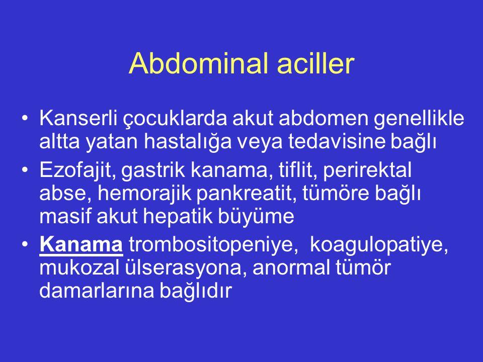 Abdominal aciller Kanserli çocuklarda akut abdomen genellikle altta yatan hastalığa veya tedavisine bağlı.