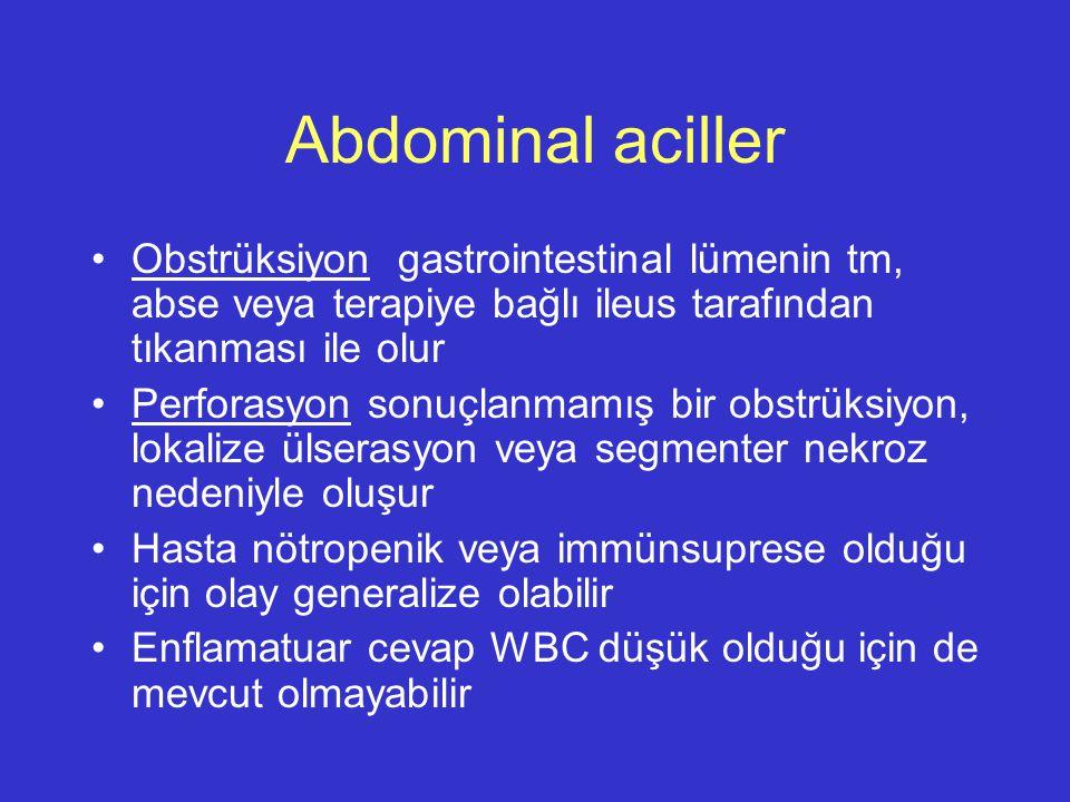 Abdominal aciller Obstrüksiyon gastrointestinal lümenin tm, abse veya terapiye bağlı ileus tarafından tıkanması ile olur.