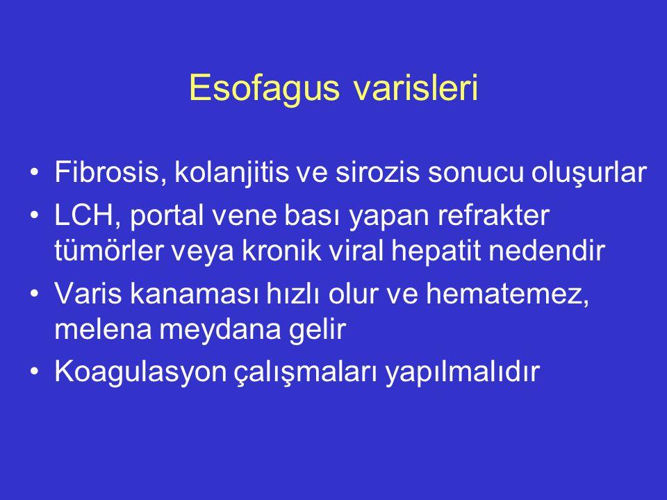 Esofagus varisleri Fibrosis, kolanjitis ve sirozis sonucu oluşurlar