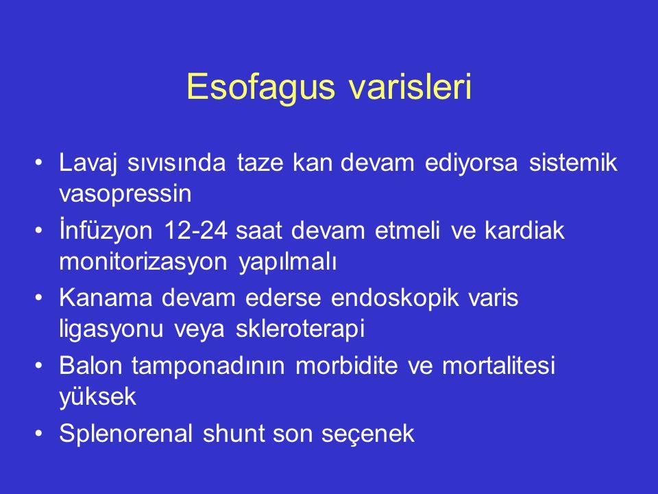 Esofagus varisleri Lavaj sıvısında taze kan devam ediyorsa sistemik vasopressin.