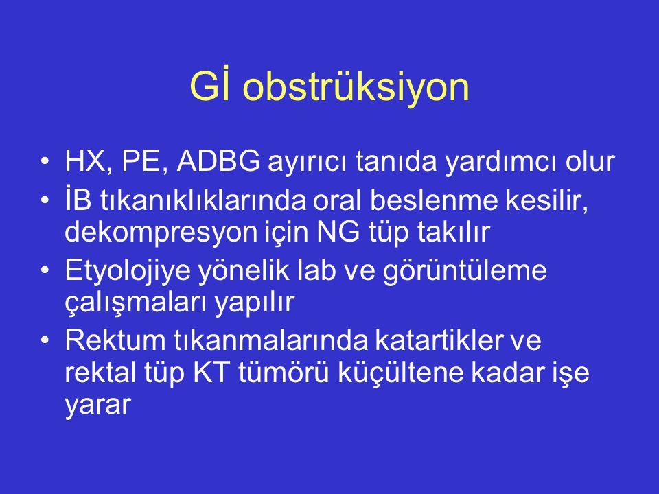 Gİ obstrüksiyon HX, PE, ADBG ayırıcı tanıda yardımcı olur