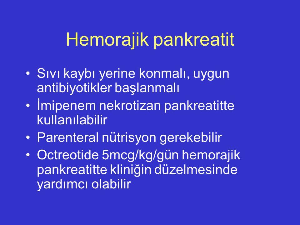 Hemorajik pankreatit Sıvı kaybı yerine konmalı, uygun antibiyotikler başlanmalı. İmipenem nekrotizan pankreatitte kullanılabilir.