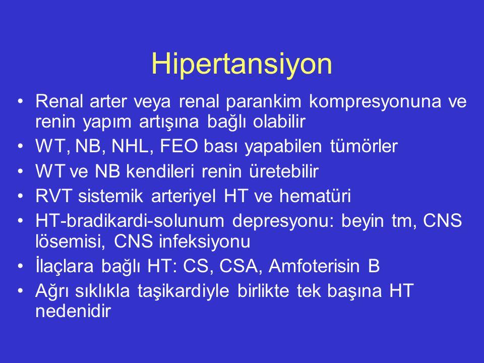 Hipertansiyon Renal arter veya renal parankim kompresyonuna ve renin yapım artışına bağlı olabilir.