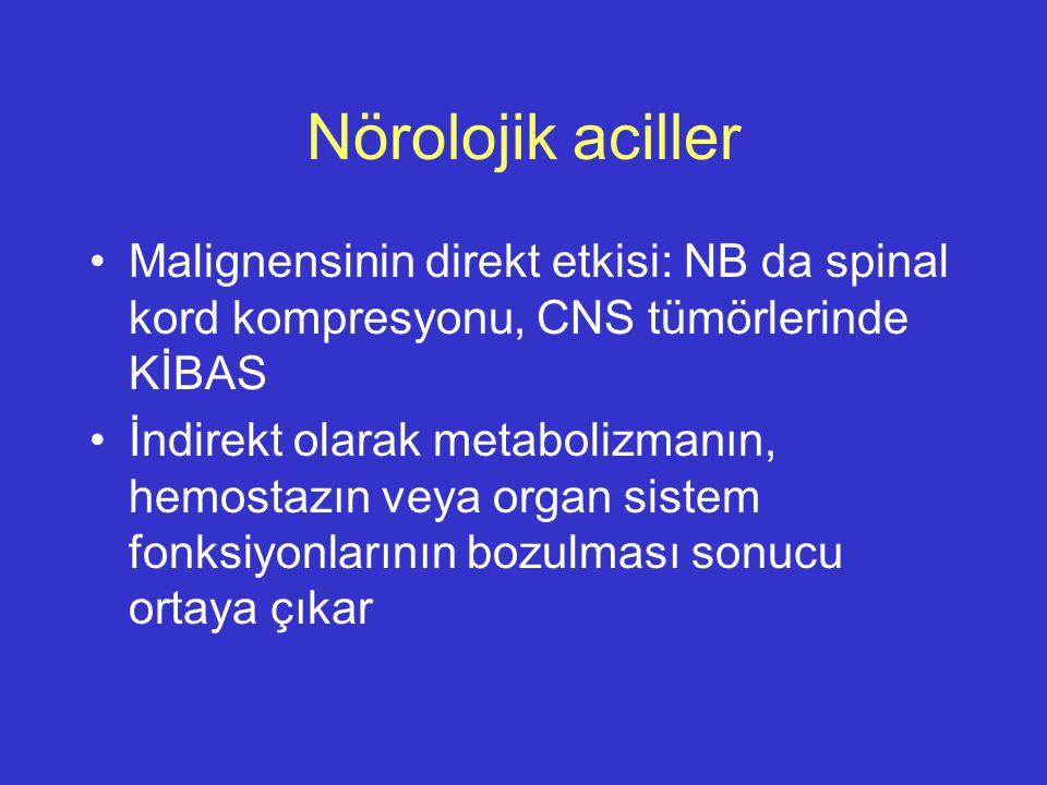 Nörolojik aciller Malignensinin direkt etkisi: NB da spinal kord kompresyonu, CNS tümörlerinde KİBAS.