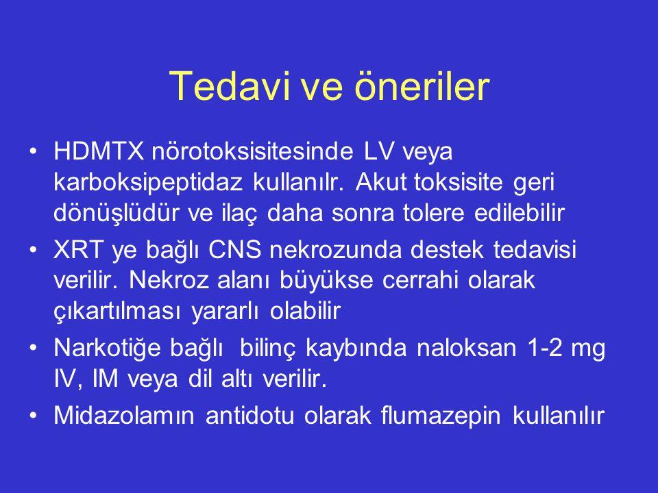 Tedavi ve öneriler HDMTX nörotoksisitesinde LV veya karboksipeptidaz kullanılr. Akut toksisite geri dönüşlüdür ve ilaç daha sonra tolere edilebilir.