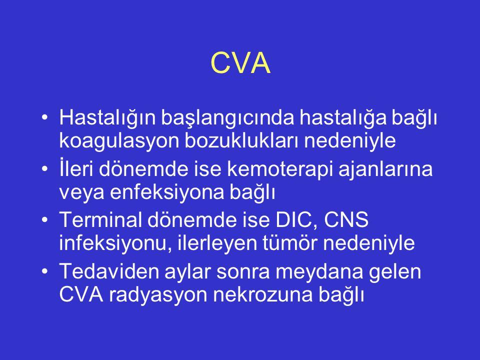 CVA Hastalığın başlangıcında hastalığa bağlı koagulasyon bozuklukları nedeniyle. İleri dönemde ise kemoterapi ajanlarına veya enfeksiyona bağlı.