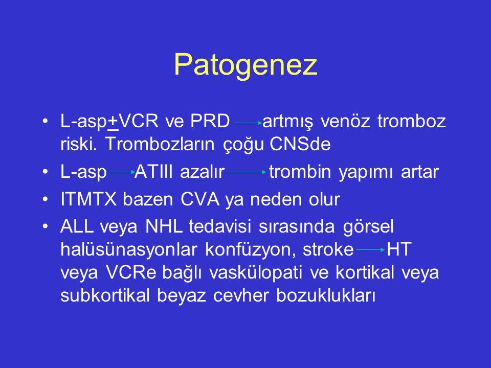 Patogenez L-asp+VCR ve PRD artmış venöz tromboz riski. Trombozların çoğu CNSde. L-asp ATIII azalır trombin yapımı artar.