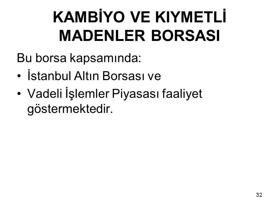 KAMBİYO VE KIYMETLİ MADENLER BORSASI