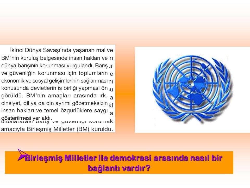 Birleşmiş Milletler ile demokrasi arasında nasıl bir bağlantı vardır