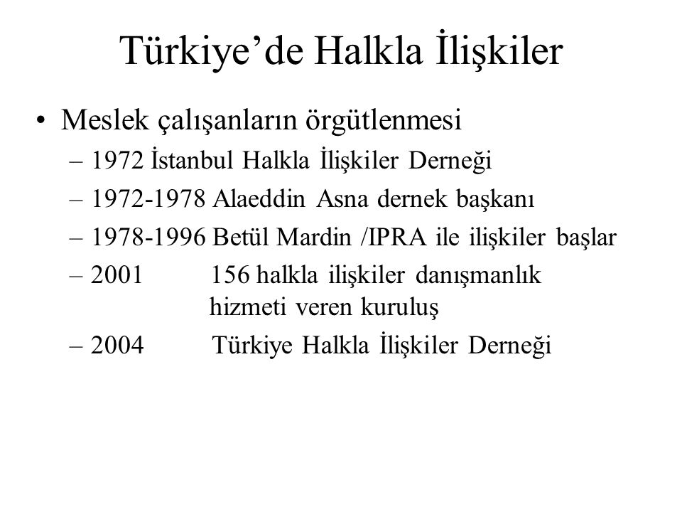 Türkiye'de Halkla İlişkiler